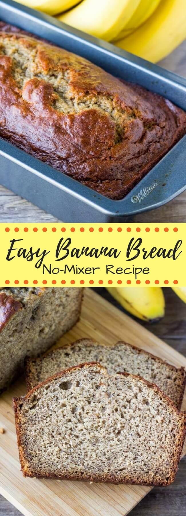 This moist banana bread is made with sour cream and packed with flavor thanks to lots of bananas, cinnamon & vanilla. You'll love this no mixer recipe.