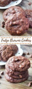 Fudge Brownie Cookies. These Fudge Brownie Cookies have a rich chocolate flavor and super fudgy texture. Like your favorite brownies in cookie form - these are perfect with vanilla ice cream, or a cold glass of milk! www.justsotasty.com