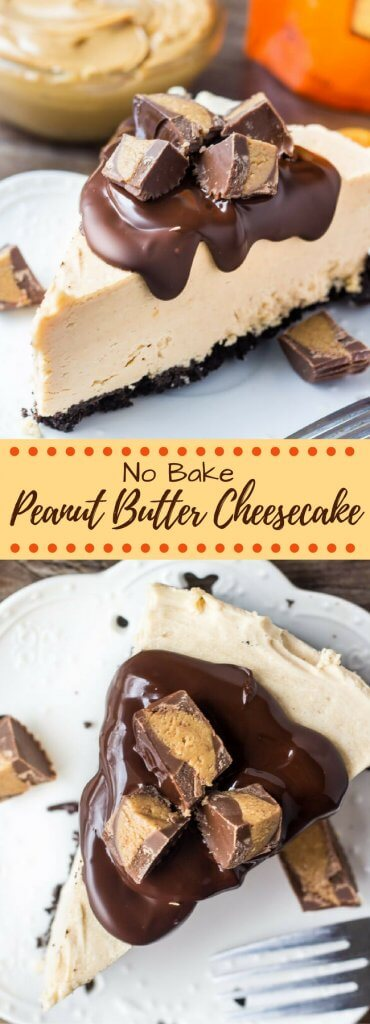 No Bake Peanut Butter Cheesecake.This no bake peanut butter cheesecake has an Oreo cookie crust, creamy peanut butter flavor, and Reese's peanut butter cups. So easy and only 15 minutes to make! www.justsotasty.com
