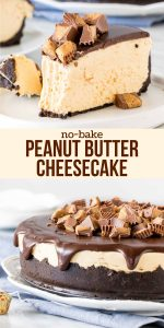 This no-bake peanut butter cheesecake has an Oreo cookie crust, creamy peanut butter flavor, and peanut butter cups on top. It's decadent, tangy, peanut buttery-y, and ridiculously easy to make. Big reward with little effort.