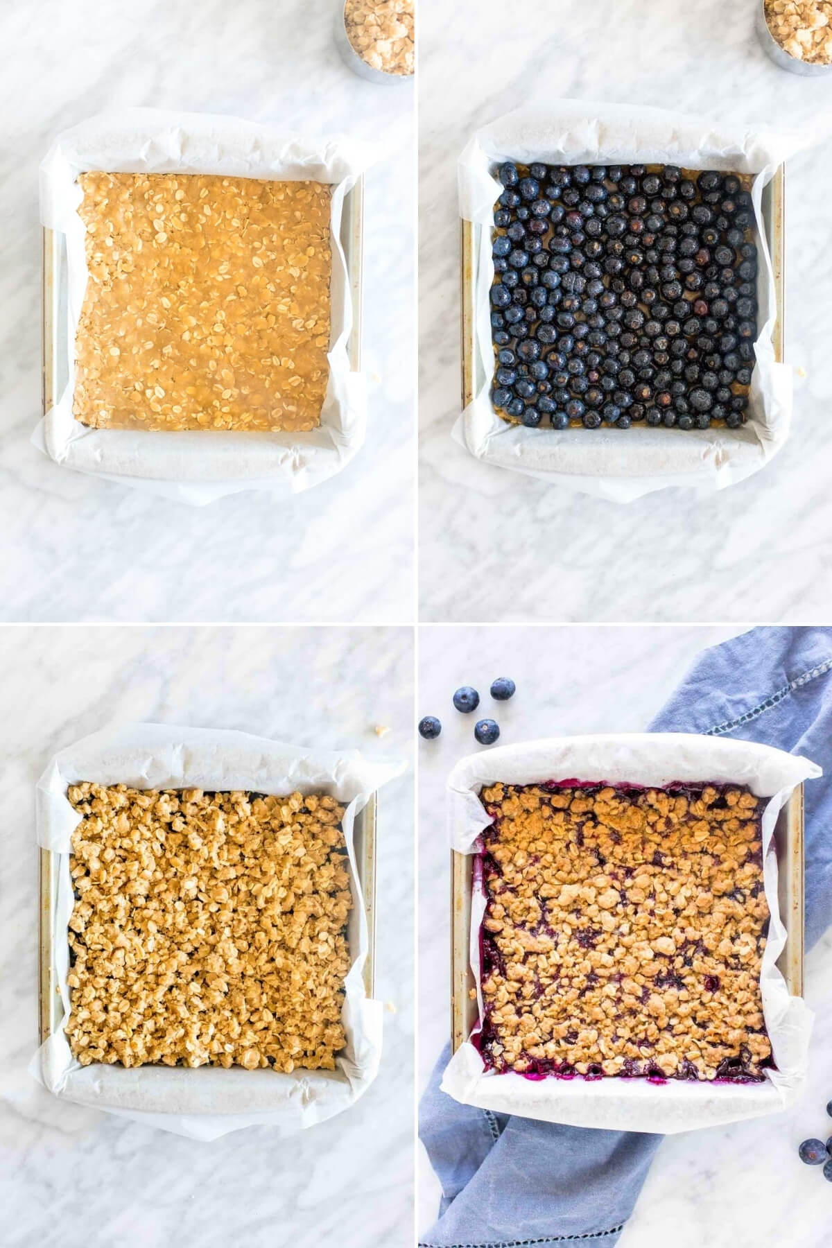Collage of 4 photos - how to make blueberry bars.