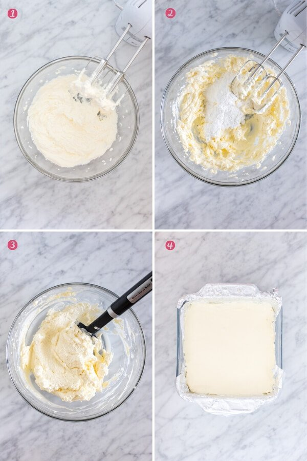 4 step-by-step photos of making no bake cheesecake filling.
