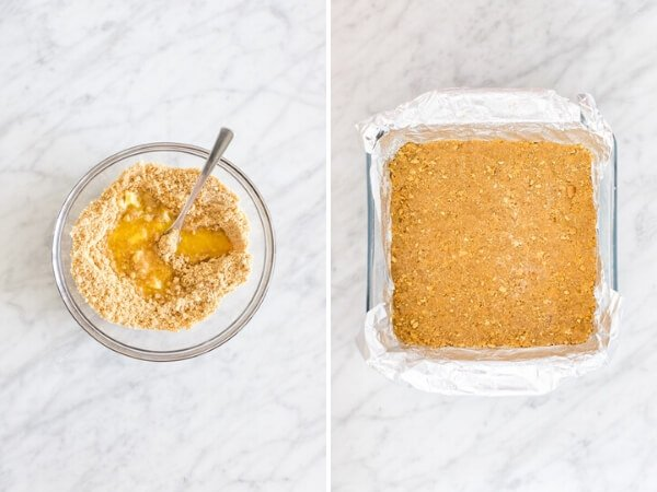 2 step-by-step photos of making graham cracker crust for cheesecake.