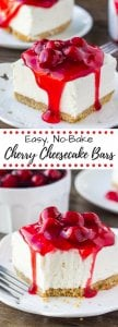 No Bake Cherry Cheesecake Bars. These quick and easy cheesecake bars are deliciously creamy with a crunchy graham cracker crust. Only 15 minutes to make! www.justsotasty.com