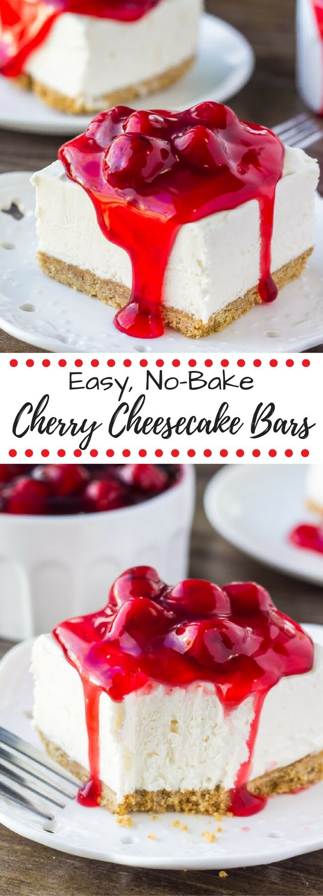 No Bake Cherry Cheesecake Bars Just So Tasty