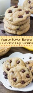 Peanut Butter Banana Chocolate Chip Cookies. Soft, chewy, a little bit gooey & packed with flavor. www.justsotasty.com