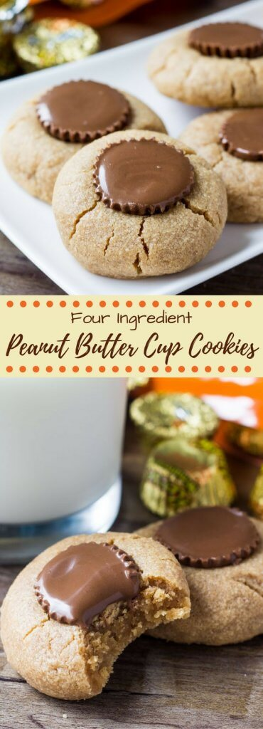 4 ingredients & 15 minutes is all you need to make these Reese's peanut butter cup cookies. They're stuffed with a peanut butter cup, soft & chewy, completely flourless and filled with big peanut butter flavor.