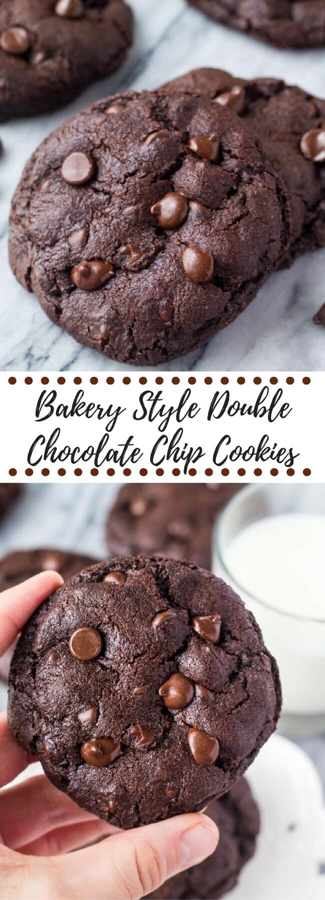 Bakery Style Double Chocolate Chip Cookies - Just so Tasty