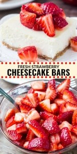 Everyone gets excited when I make these fresh strawberry cheesecake bars. They have a crunchy graham cracker crust, a layer of silky smooth cheesecake, and fresh sugar strawberries on top. It's a classic cheesecake recipe and definitely one to add to your dessert rotation. #cheesecake #strawberry #cheesecakebars #dessert #summer #recipes