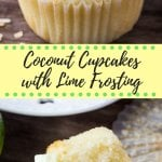 Coconut cupcake with lime frosting & toasted coconut - Muffin paper removed. www.justsotasty.com