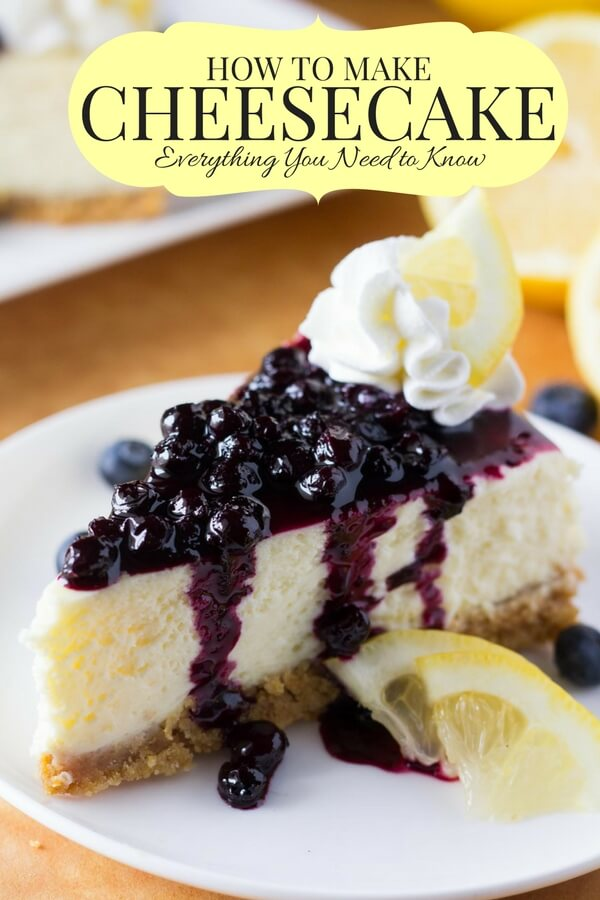 Slice of lemon cheesecake with blueberry sauce.