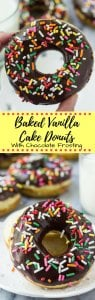 These baked vanilla doughnuts with chocolate glaze have a delicious cake doughnut texture and are ultra-moist. With a thick chocolate glaze and coated in sprinkles, they won't last long.... Plus, there's no hot oil or deep frying!