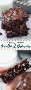 If you like your brownies chewy, gooey and extra chocolatey - then these one bowl chewy brownies are for you! Made with oil and cocoa powder so you likely won't even need an extra grocery trip, they're an easy decadent recipe that are waaayyy better than boxed brownies!