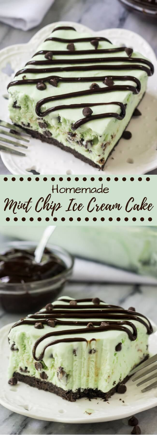 No Churn Mint Chip Ice Cream Cake - Just so Tasty