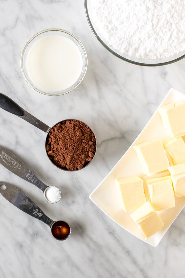 Ingredients for making chocolate buttercream.