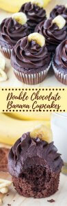Double Chocolate Banana Cupcakes are fluffy and perfectly moist with a delicious banana flavor. Then they're topped with creamy chocolate frosting from a double dose of chocolate.