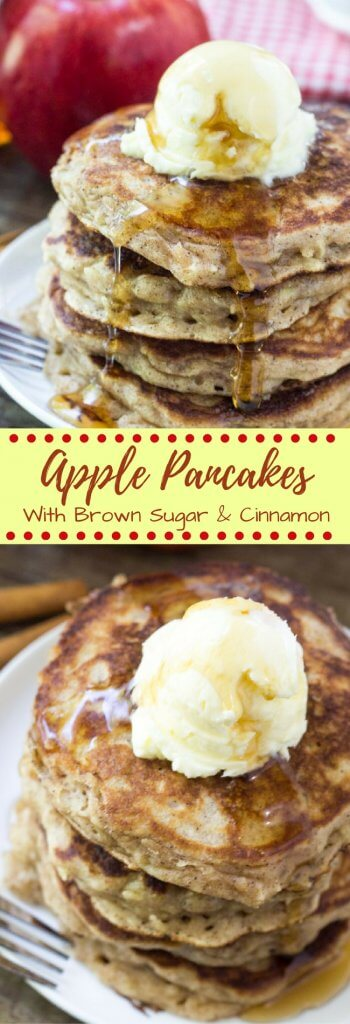 These apple pancakes are the perfect way to celebrate apple season. They're light & fluffy like your favorite buttermilk pancake recipe. Then they're filled with cinnamon and brown sugar - so they taste like apple pie in pancake form.