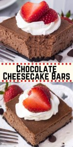 These chocolate cheesecake bars are the smoothest, creamiest chocolate cheesecake recipe out there. Then with an Oreo crust, whipped cream & berries - go wrong with this easy cheesecake recipe #chocolatecheesecake #cheesecake #bars #chocolate #easy #squares #fromscratch #oreo #oreocrust