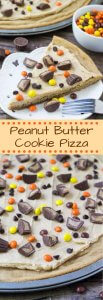 This Peanut Butter Cookie Pizza starts with one BIG peanut butter cookie. Then it's topped with creamy peanut butter frosting & all your favorite peanut butter candies. It's the perfect dessert for true peanut butter lovers,