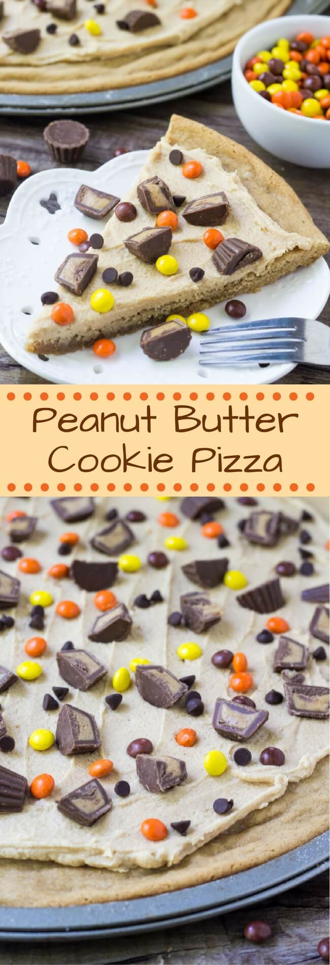 This Peanut Butter Cookie Pizza starts with one BIG peanut butter cookie. Then it's topped with creamy peanut butter frosting & all your favorite peanut butter candies. It's the perfect dessert for true peanut butter lovers!