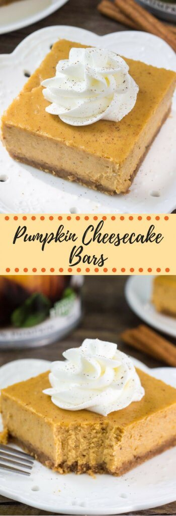 Smooth, creamy, super easy Pumpkin Cheesecake Bars. With a graham cracker crust and filled with fall spices - this pumpkin cheesecake recipe is the perfect dessert for fall.