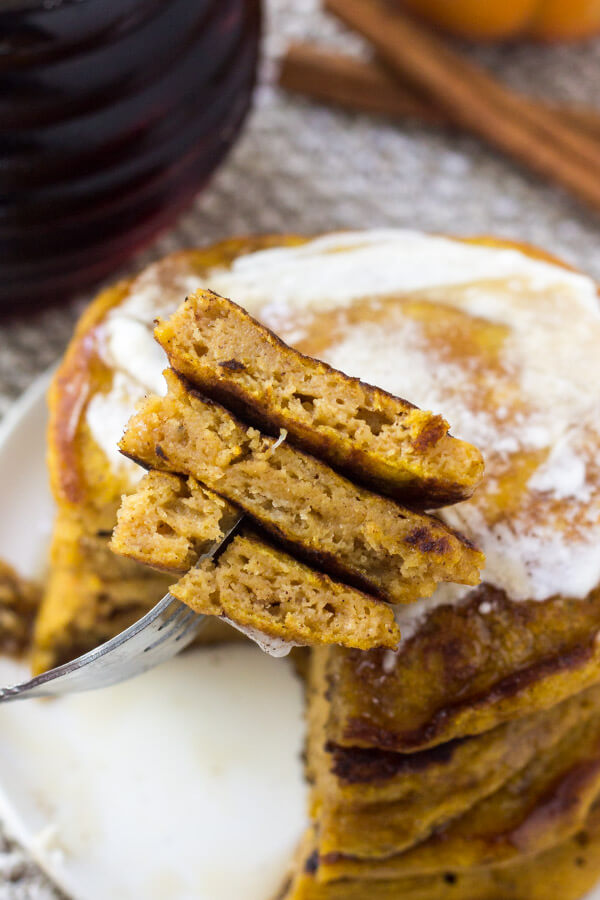 If you're looking for the perfect fall breakfast - look no further. These fluffy pumpkin pancakes are filled with cinnamon, vanilla, a hint of brown sugar, and of course - lots of pumpkin.