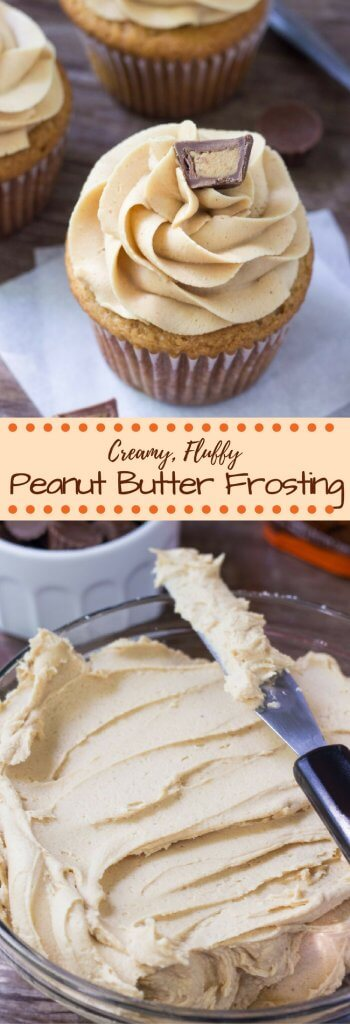 Fluffy, creamy peanut butter buttercream. This easy frosting recipe is perfect for cupcakes, brownies, birthday cake or anything that goes with peanut butter!