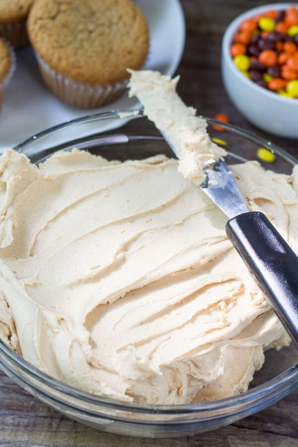 Peanut butter frosting is creamy, fluffy and salty sweet.