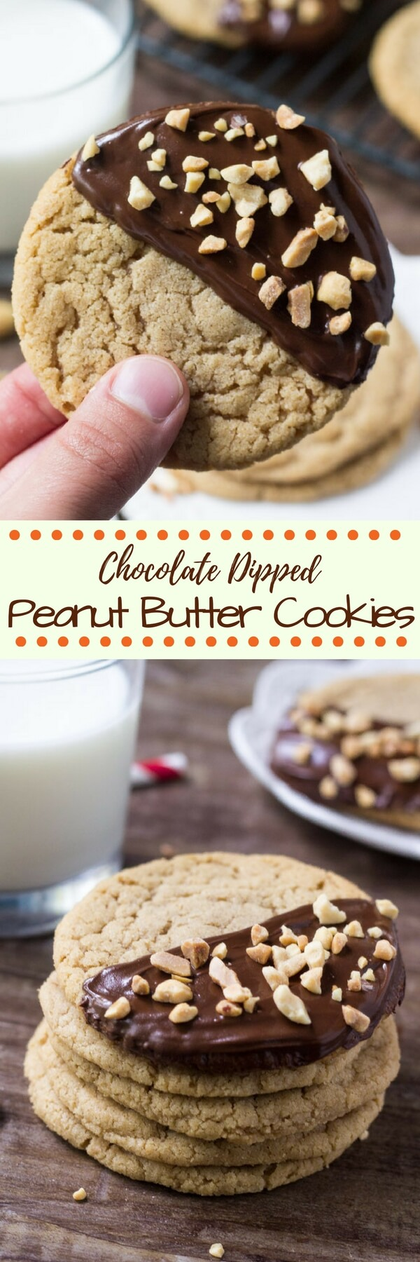 Soft and chewy peanut butter cookies dipped in chocolate and sprinkled with peanuts. If you're looking for a cookie recipe that's big on peanut butter - then these chocolate dipped peanut butter cookies are for you.  #peanutbutter #peanutbuttercookies #chocolatedip