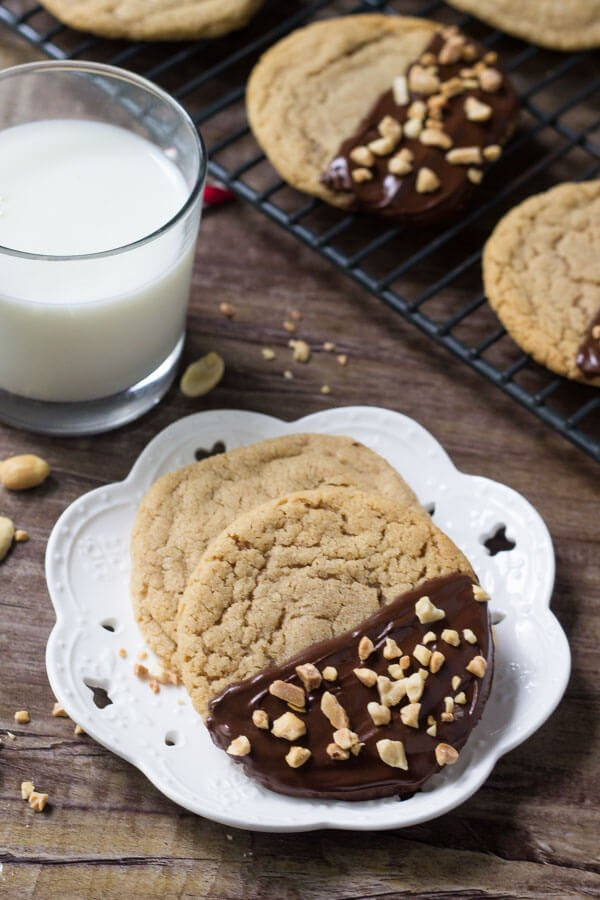Soft and chewy chocolate dipped peanut butter cookies. Your favorite peanut butter recipe just got even better!