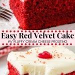 This easy red velvet cake is fluffy, moist, topped with cream cheese frosting, and has the most beautiful red color. It has the perfect red velvet flavor that's slightly tangy with a milk chocolate taste. Easy to make & oh so delicious - it's the perfect red velvet cake recipe. #redvelvet #cake #recipes #valentinesday #christmas #baking #redvelvetcake #creamcheesefrosting