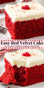 This easy red velvet cake is fluffy, moist, topped with cream cheese frosting, and has the most beautiful red color. It has the perfect red velvet flavor that's slightly tangy with a milk chocolate taste. Easy to make & oh so delicious - it's the perfect red velvet cake recipe.#redvelvet #cake #recipes #valentinesday #christmas #baking #redvelvetcake #creamcheesefrosting