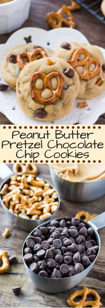 Peanut Butter Pretzel Chocolate Chip Cookies - salty, sweet, chewy, crunchy goodness in cookie form. These cookies have it all!#peanutbutterpretzel #pretzelcookies #chocolatechipcookies #peanutbuttercookies