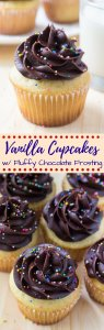 These vanilla cupcakes with chocolate frosting are perfectly moist with the softest cupcake crumb and delicious buttery vanilla flavor. You'll love the creamy chocolate buttercream!