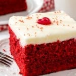 Easy red velvet cake is moist, tender & topped with fluffy cream cheese frosting.