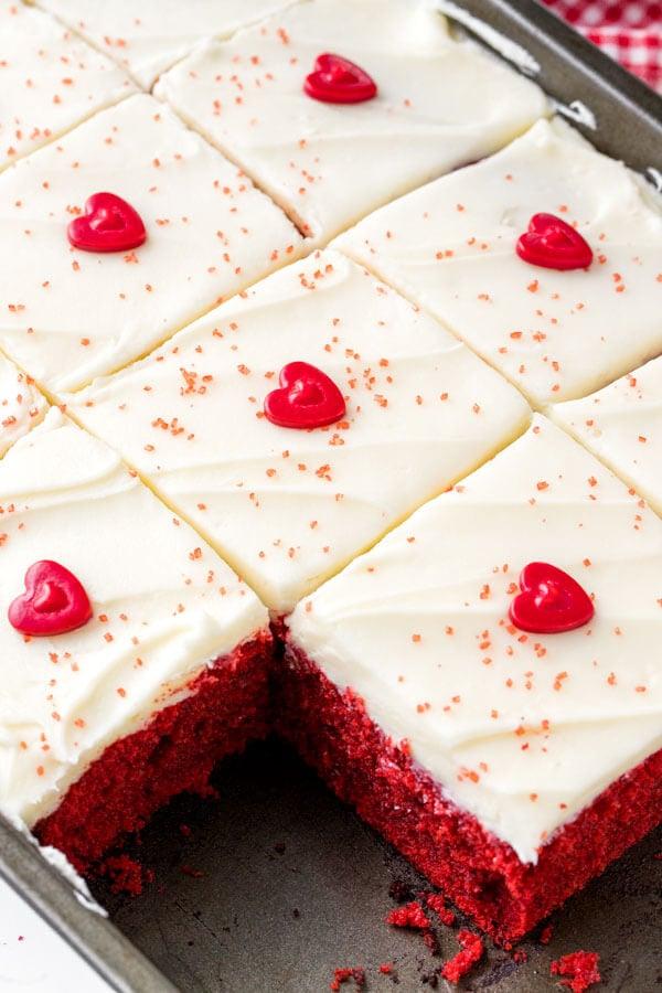 A 9x13 inch pan of red velvet cake.