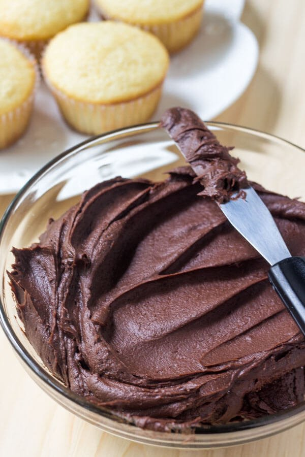 Vanilla Cupcakes with Chocolate Frosting - Just so Tasty