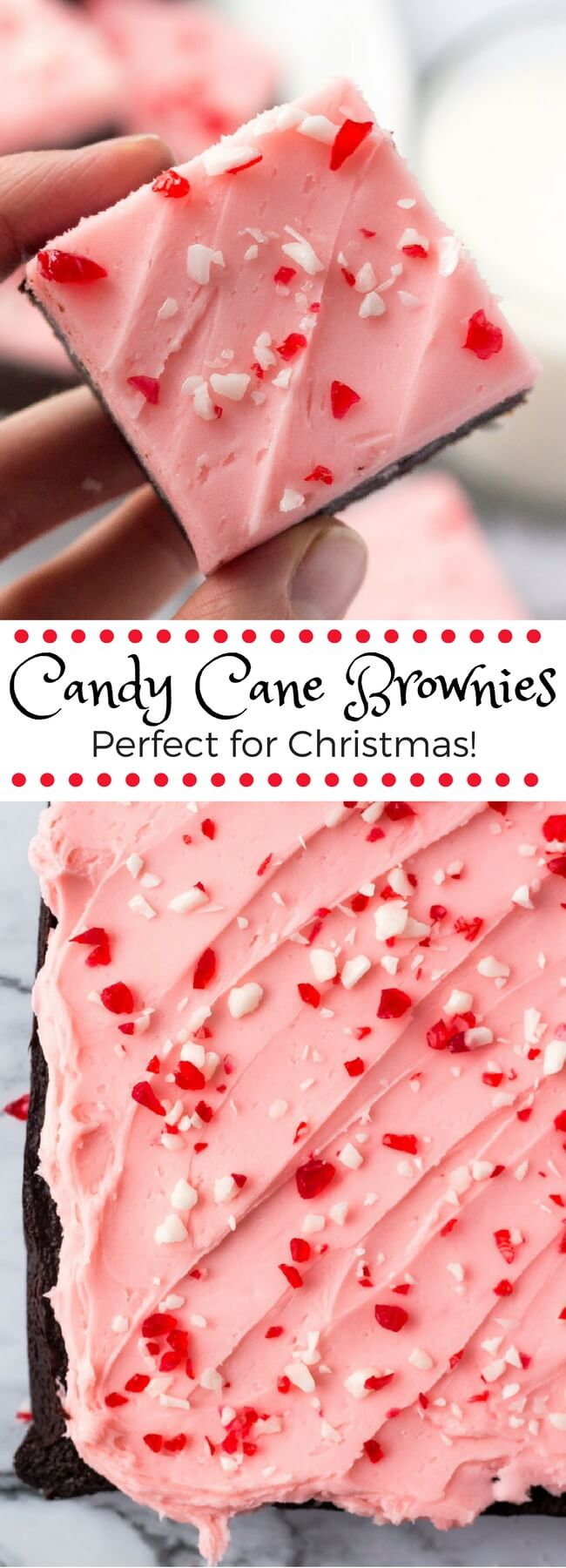 These candy cane brownies are the perfect Christmas brownies. They start with fudgy chewy brownies, then they're topped with a thick layer of creamy peppermint frosting and sprinkled with crushed candy canes. #christmasbrownies #peppermintbrownies #candycanebrownies #candycanes