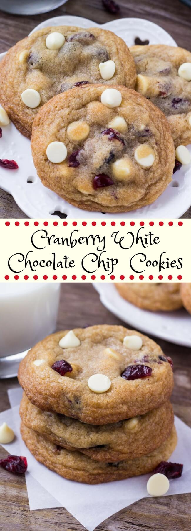 These cranberry white chocolate cookies are soft and chewy with slightly golden edges. The combination of white chocolate and dried cranberries is perfect for Christmas. #whitechocolatecranberry #cranberry #whitechocolatecranberrycookies #christmascookies