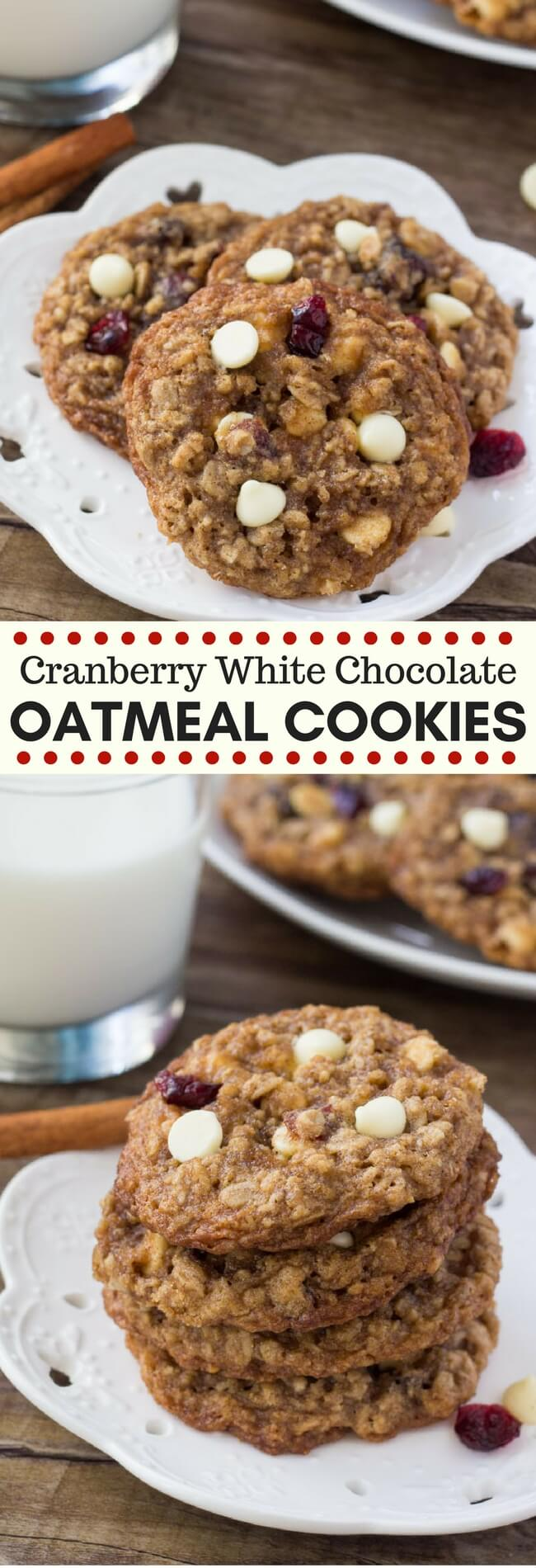 The softest, chewiest White Chocolate Chip Cranberry Oatmeal Cookies. Rustic, homey & 100% delicious - these cookies are perfect for the holidays.#whitechocolatecranberry #oatmealcookies