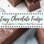 This easy fudge recipe makes smooth, creamy, delicious chocolate fudge every time. It only uses 3 ingredients and you can make it in the microwave or on the stove. #chocolatefudge #easyfudge #microwavefudge