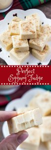 This eggnog fudge is smooth, creamy & tastes like Christmas. With a hint of nutmeg and creamy eggnog flavor - it makes the perfect gift too!