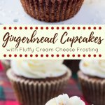 Spiced gingerbread cupcakes that are moist, fluffy & filled with holiday cheer. Then they're frosted with tangy, sweet cream cheese frosting and a sprinkle of cinnamon #gingerbreadcupcakes #gingerbread #holidaycupcakes #christmasbaking