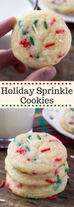 These Holiday Sprinkle Cookies are pillowy soft and melt-in-your mouth. They have a delicious buttery vanilla flavor and are packed with sprinkles. They're the perfect easy cookie recipe for your holiday baking. #holidaycookies #sprinklecookies #christmascookies