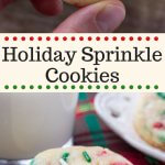 These Holiday Sprinkle Cookies are pillowy soft and melt-in-your mouth. They have a delicious buttery vanilla flavor and are packed with sprinkles. They're the perfect easy cookie recipe for your holiday baking.#holidaycookies #sprinklecookies #christmascookies