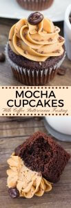 Moist, soft, fudgy chocolate cupcakes infused with coffee and topped with fluffy coffee frosting. These mocha cupcakes are perfect for true coffee lovers! #mochacupcakes #coffeefrosting #cupcakes