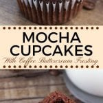 Moist, soft, fudgy chocolate cupcakes infused with coffee and topped with fluffy coffee frosting. These mocha cupcakes are perfect for true coffee lovers!#mochacupcakes #coffeefrosting #cupcakes