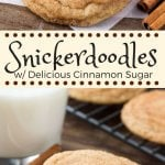 These snickerdoodles are soft and chewy with a delicious cinnamon sugar coating. The dough is a simple sugar cookie recipe made with cream of tartar to make the cookies extra soft and chewy.#snickerdoodles #cookies #snickerdoodlecookies
