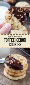 Soft, buttery, melt-in-your mouth sugar cookies with golden edges. Filled with toffee pieces & dipped in chocolate - these toffee icebox cookies are just that incredible. #iceboxcookies #toffeecookies