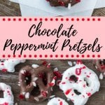 Crunchy, salty & sweet - these Chocolate Peppermint Pretzels are the perfect holiday treat. They're so easy to make and you only need 3 ingredients. They're delicious for snacking on while watching a Christmas movie, and they also make a great edible gift. #christmascandy #chocolatepretzels #candycanes #ediblegifts